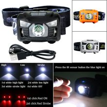 Portable Camping Headlight USB Rechargeable CREE 3000 Lumen IR Sensor LED Headlamp Built in battery 4 white+2 red light mode(China)