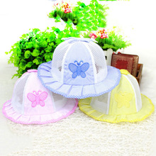 Infant Newborn Visor Sun Hats Caps Soft Cotton Baby Girl Boys Toddler Summer Wide Brim Mesh Bucket Hat Child butterfly Sunbonnet