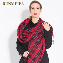 [RUNMEIFA] 2017 Brand new women sjaals autumn and winter lady fashion red plaid acrylic thick keep warm tassel shawl scarf(China)