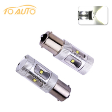 2pcs 1156 BA15S P21w led 30W Auto Pure Fog Tail Turn CREE LED chips S25 Light Bulb Lamp parking Reserve Lights car light source(China)
