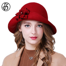 FS Elegant Women Winter 100% Wool Fedoras Felt Hats For Ladies Vintage Curl Brim Flower Bowler Cloche Hat Red Blue Gray Black