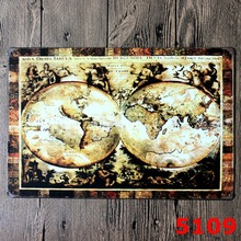 5109 The World MAP DESIGN Metal Wall Sticker IRON Plaque PUB Wall Sticker house Tin Signs Shop Decor 20X30CM(China)