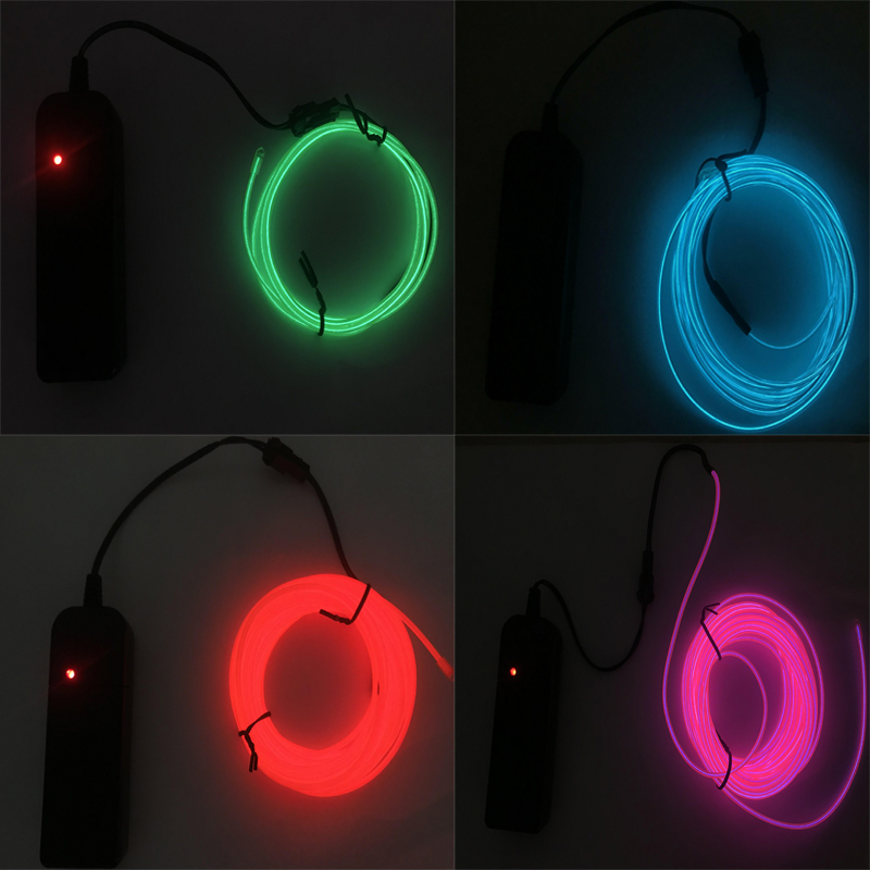 1M/2M/3M/5M Neon Light EL Wire 3V Flexible Rope Tape Cable Waterproof Shoes Clothing Car Led Strip Light
