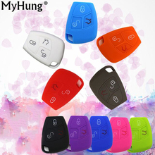 1pcs 3 Buttons Silicone Remote Filp Key Cover Shell For Mercedes Benz C E GLC GLA Classe Car Key Case Silica Gel For Old Benz(China)