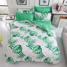 USA Europe Russian Bedding Sets King Size Duvet Cover Set Spring Leaf Bedding Hotel Bedclothes Green(China)