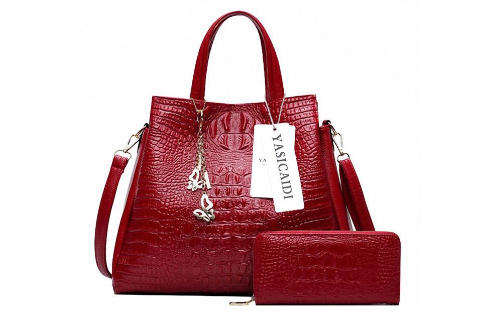 Fashion-PU-Leather-Women-Crocodile-Pattern-Messenger-bags-Two-Set-Purse-and-Handbags-Butterfly-Tassel-Leisure