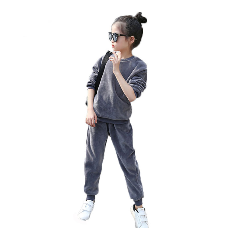 Girls Sport Suit Girls Clothing Set Velvet Pullover+Pants 2Pcs Kid Tracksuit Spring Autumn Children Clothes 4 6 8 10 12 Years<br>
