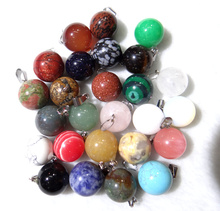 Fee shipping 50pcs/lot fashion bestselling assorted natural stone round ball shape charms pendant fit necklaces making(China)