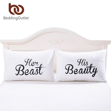 BeddingOutlet Decorative Couple Pillowcase Beast and Beauty Bedding Valentine's Day Gifts for Him or Her Pillow Cover One Pair