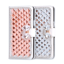 For Honor 4C Luxury Rhinestone Case Phone Cover For Huawei Honor 4C C8818 For Huawei G Play Mini Leather Stand Flip Wallet Bag(China)