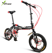"New Brand carbon steel frame 14/16"" one piece wheel 6 speed folding bike outdoor MBX bicicletas Children Lady's bicycle"
