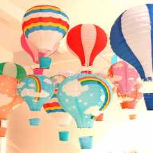 20pcs/lot 12 inch Multicolor Rainbow Striped Hot Air Balloon Paper Lantern Wishing Lanterns for Birthday Wedding Party Decor