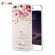 CASEIER For iPhone 6 6S Plus 7 Plus 5 5S SE Cases 3D Relief Art Print Cover For Samsung Galaxy S6 Edge S7 Edge Flower Phone Case