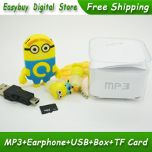 New High Quality Cartoon MP3 Player Portable Mini MP3 Music Player Supply 2GB TF Card & Stereo Earphone & USB Cable & Box