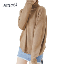 MUICHES Autumn and Winter Vintage Women Sweater Batwing Sleeve Loose Turtleneck Knitted Pullover Army Green Sweaters Crop Top(China)