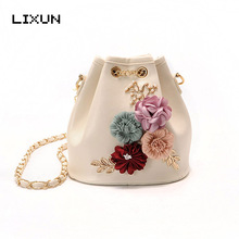Fashion 3D Flower Decoration Drawstring Beads Bucket Bag Crossbody Bags For Women Small PU Leather Shoulder Bag Floral Handbags(China)