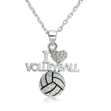 my shape Fashion Clear Crystal I Love Volleyball Heart Shape Pendant Necklace Link Chain Sports Jewelry for Teen Girls