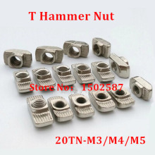 50pcs M3 M4 M5 T Slot Hammer Head Nut Nickel Plated Carbon Steel Connector T-Nut Fastener for 2020 Aluminum Profile Accessories