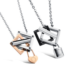 Lovers' Lock Key Pendant Necklaces Romantic 316L Stainless Steel Women Men Promise Jewelry GX308
