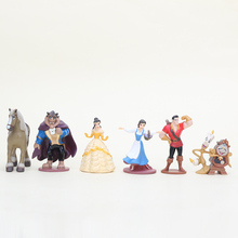 6pcs/set Cartoon movie cute baby toy Beauty and the Beast Princess Bella Beast PVC action Figures Collective Model Toys(China)