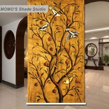 MOMO Birds Window Curtains Roller Shades Blinds Thermal Insulated Blackout Fabric Custom Size, Alice 131-133