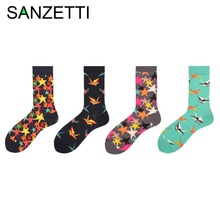 SANZETTI 5 pairs/lot Men's Combed Cotton Socks Star Green Paper Cranes Coconut Tree Casual Crew Socks Winter Dress Socks for Man