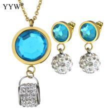 Crystal Jewelry Sets pendant & earring Stainless Steel Flower gold color plated oval chain & for woman & faceted Sold By Set