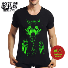 Wholesale summer brand clothing Novelty Mens tshirt homme 3D Glow in the Dark Luminous t shirt Men Wolf Printed Short Sleeve tee