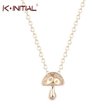 Aliexpress Brand ,10Pcs Silver Gold Mushroom Necklace bohemian boho chic necklace mushroom Pendants Necklaces Charm Jewelry