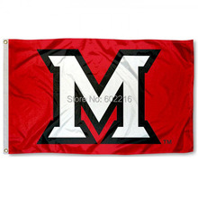 Miami Redhawks Beveled M College Large Outdoor Flag 3ft x 5ft Football Hockey College USA Flag(China)