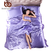Bedding Set Plaid on Bed Set Bed Linen Silk Satin Sheets Light Purple Satin Duvet Cover Sets 4pcs of Solid Silk Satin Beddings(China)