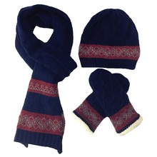 2017 New Arrival Wool Men's Hats Scarves Gloves three - piece Warm Autumn Winter High Quality Men Knit Scarf, Hat & Glove Sets(China)