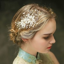 Dower me Fashion Beaded Pearl Bridal Hair Comb Jewelry Gold Wedding Tiara Accessories Handmade Women Headpiece