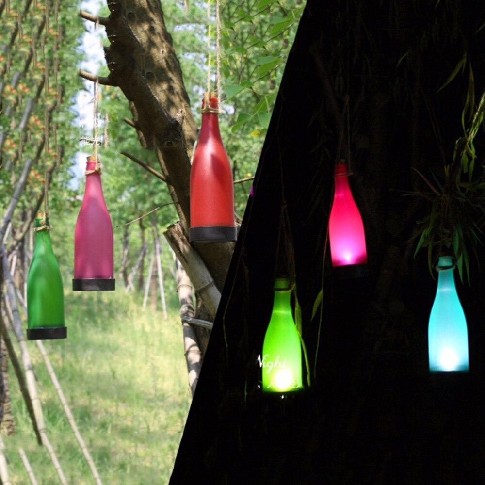 5Pcs Hot Sale Wine Bottle LED Solar Powered Sense Light Outdoor Hanging Garden Lamp For Party Courtyard Patio Path Decoration