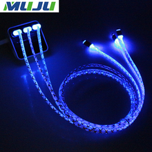2000pcs/lot factory price Round LED Light Metal USB Rapid Transport Data Sync Fast Charge 8pin Cable for iPhone 5s 6s plus iPad