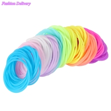 50pcs/Lot Mix Color Hair Rope Fluorescent Candy Color Elastic Hair Bands For Women Girl Kids Hair Rubber Bands Hair Accessories(China)
