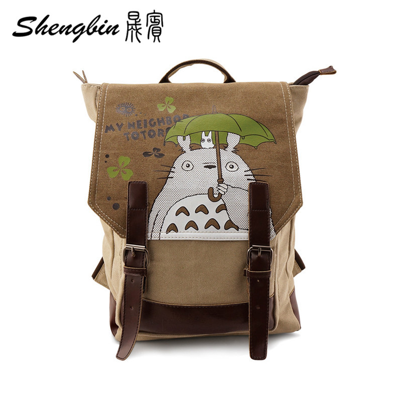 Anime Manga My Neighbor TOTORO Backpack Canvas +Leather Shoulders Bag Children Schoolbags Men And Women Canvas Printing Backpack(China (Mainland))