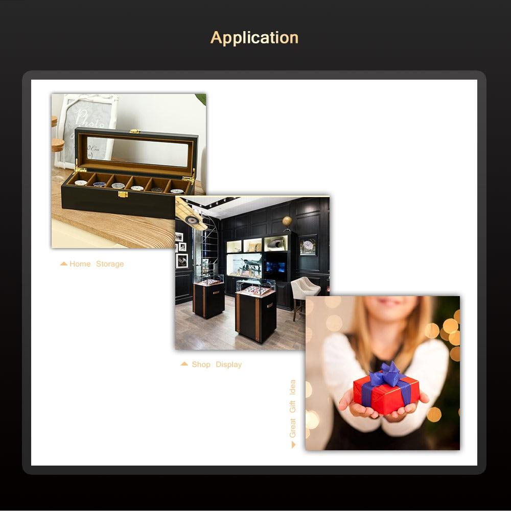 6 Slots Watch Organizer Display Case Wood Luxury Glass Top Wristwatch Box for Men Women