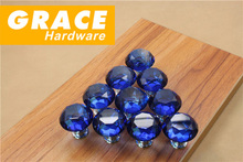 Blue Crystal Glass Diamonds New Drawer Round Furniture Drawer Cabinet Door Handle Furniture Hardware Accessories(D:30mm)