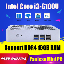 New Hystou Intel Core i3 6100U Fanless Mini PC Desktop Computer Windows 10 Nettop DDR4 RAM HDMI TV Box 4KHD Thin Client Small PC