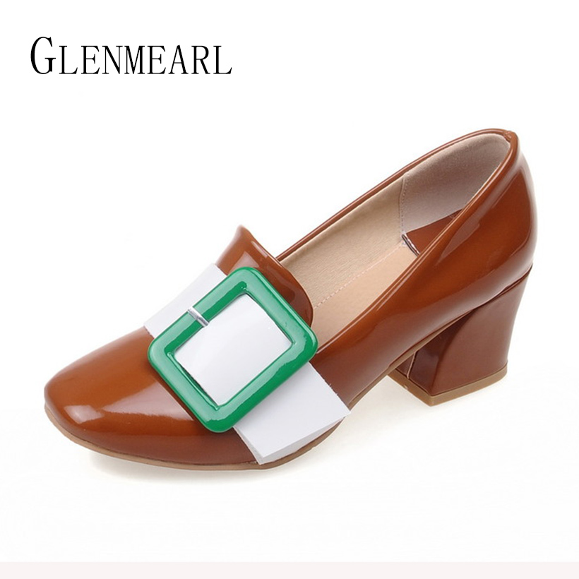 2018 New Spring Retro High Heel Women Shoes Pumps Patent Leather Thick With Square Toe Platform Single Shoes Buckle Plus size30<br>