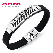 MOZO FASHION Men Bracelet Silicone Rubber Wristband Great Wall Pattern Stainless Steel Trendy Bracelets Cool Men Jewelry MPH1090