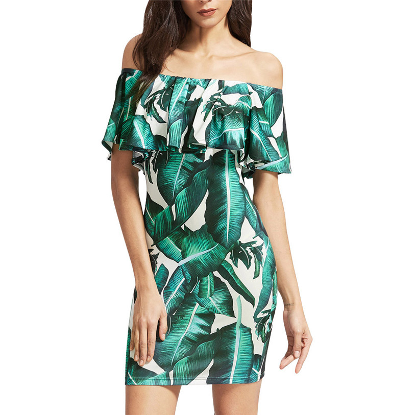 Sexy Dress 2017 New Ladies Summer Ruffled Shoulder Bodycon Midi Dress Bodycon Midi Dress Midi Dress Green Plus Size May 23