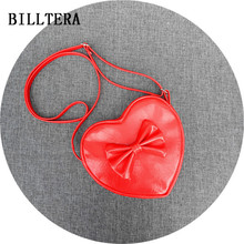 Kids fashion red heart shape pu messenger bag girls cute bow mini leather single shoulder bags for children party phone pouch