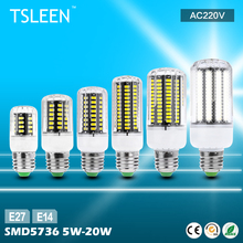 TSLEEN High Lumens E27 E14 5736 SMD LED Corn Bulb Lamp AC220V Commercial Lights
