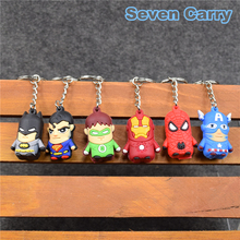 6pcs/lot Spider man Super Man Iron Man Batman Captain America Green Lantern The Avengers Keychains Pendants Mini PVC Figure Toys