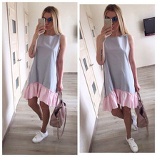 Buy Summer Dresses 2018 Casual Loose Patchwork Sleeveless Ruffles O-Neck Straight Dress Fashion Women Dress Ukraine Vestidos for $5.31 in AliExpress store