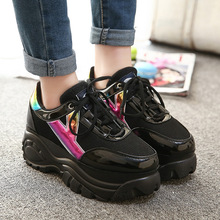 Size 35-39 Harajuku Women Casual Shoes 2015 Retro Trifle Platform Big Head Shoes Students Laser Casual Shoes Super 6cm Heights(China)