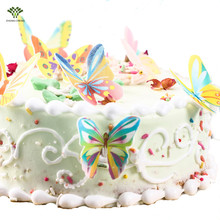 60PCS/bag Edible Cake Topper Wafer Paper Butterfly Cupcake Picks Wedding Cake Decoration Birthday Party Decoration Kids 1.3 Inch