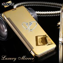 KISSCASE For Samsung Note 5 PU Leather + Hard Plastic Flip Plating Mirror Case for Samsung Galaxy Note5 N920 Slim Phone Cover